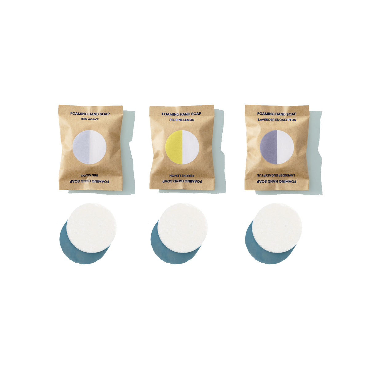 Three Foaming Hand Soap Tablets unwrapped with packaging above, Iris Agave scent, Perrine Lemon scent, Lavender Eucalyptus Scent