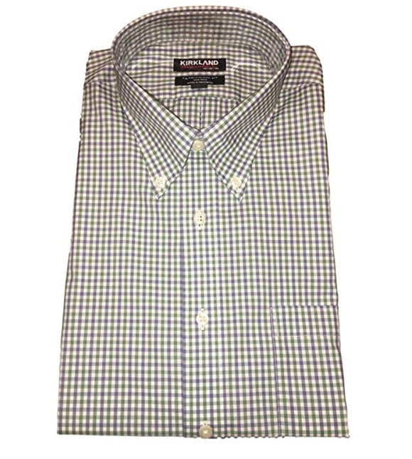 NWT Kirkland Signature Traditional Fit Non-Iron Button Down Collar Oxford Shirt Blue Green Plaid Size 15.5-32/33