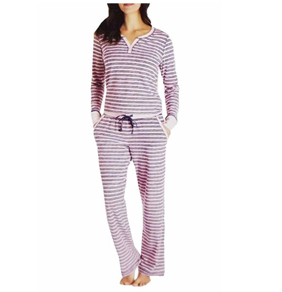 NWT Nautica Women's 2 Piece Fleece Pajama Sleepwear Set Pink Stripe Size XXL
