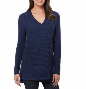 NWT Ellen Tracy Womens V-Neck Marled Knit Pullover Sweater Admiral Blue Black Select Size