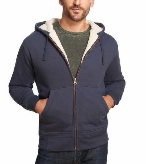 Weatherproof Vintage Men's Full Zip Suede Fleece Hoodie Navy Size S
