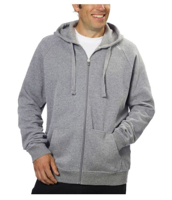 NWT Fila Full Zip Hooded Soft Fleece Men's Sweatshirt with Media Pocket Grey Size L