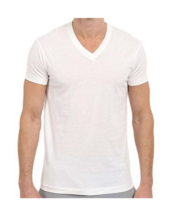Open Pack Kirkland Signature Men's V-Neck Pima Cotton Tee 4-pack White