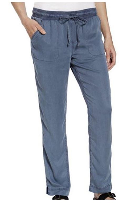 NWT CALVIN KLEIN JEANS WOMEN'S SOFT PULL-ON PANT DRAWSTRING WAIST SAILBOAT BLUE M