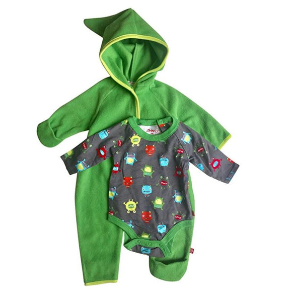 NWT Zutano Baby Boy Hooded Fleece Bodysuit Elf Romper with Fold Over Cuffs & Long Sleeve Snap Onesie Set Green Size 3M
