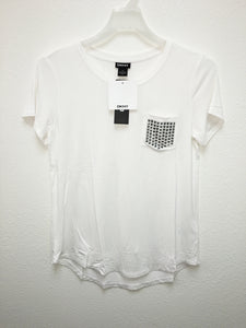 NWT DKNY Women's Scoop Neck Embellished Pocket Tee T-Shirt White