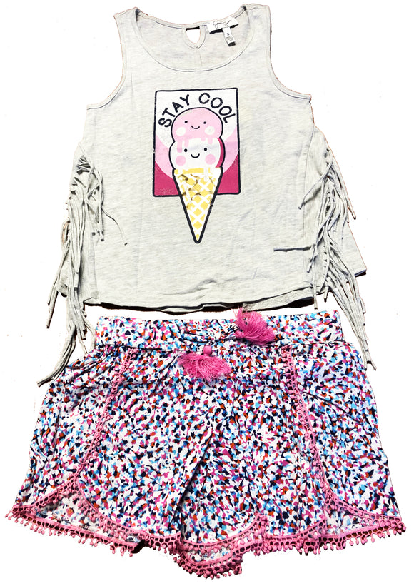 NWT JESSICA SIMPSON GIRLS' 2 PIECE SHORT SET SIBEL JERSEY SELECT SIZE
