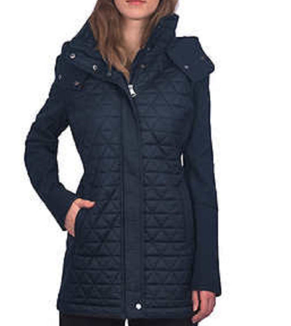 NWT Marc New York Andrew Marc Women's Quilted Hooded Jacket Navy Size XXL