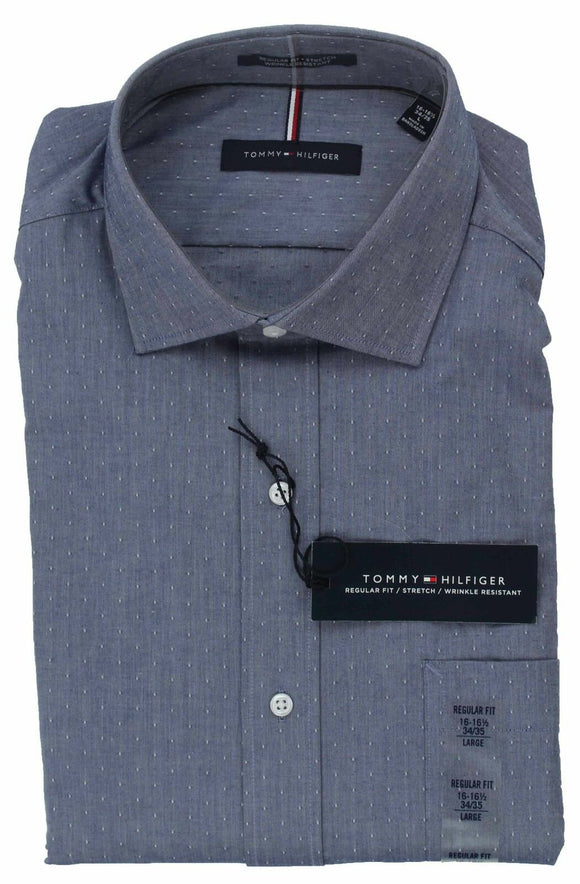 MENS TOMMY HILFIGER REGULAR FIT STRETCH WRINKLE RESIST BUTTON FRONT DRESS SHIRT BLUE MICRO DIAMOND