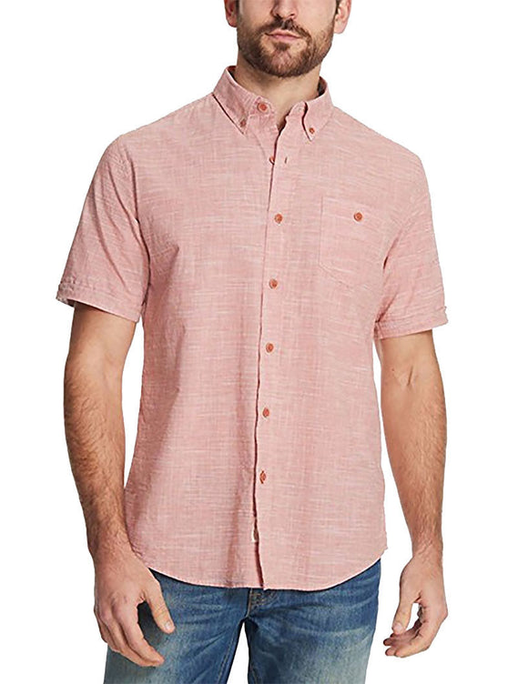 NWT Weatherproof Vintage Men's Short Sleeve Woven Chambray Shirt Spice Color Size M