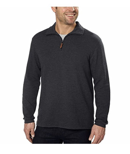 NWT Hudson River Mens Long Sleeve 1/4 Zip Shirt Pullover Sweater Charcoal Size M
