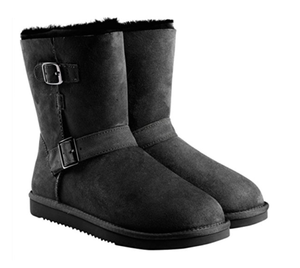 NIB KIRKLAND SIGNATURE WOMENS SHEEPSKIN SHEARLING BUCKLE BOOTS Black COLOR SIZE 6