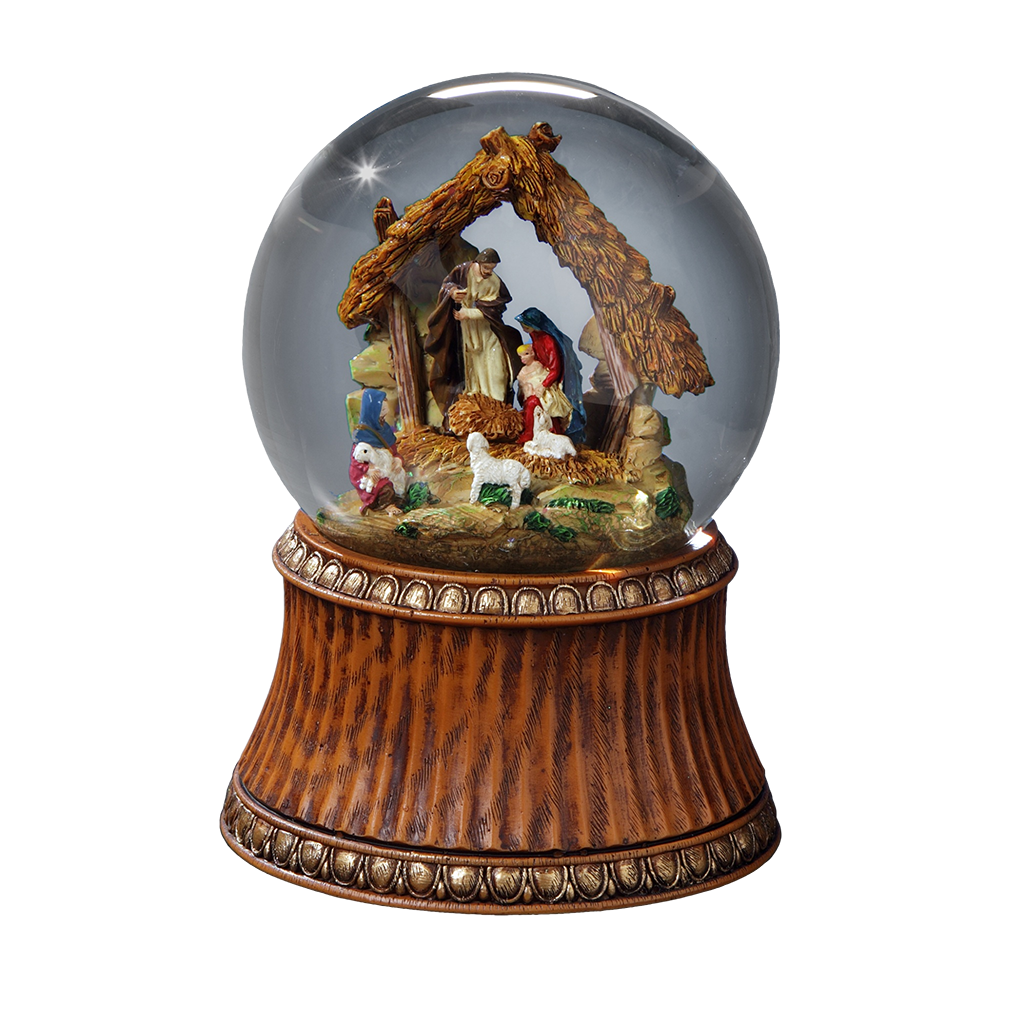 Nativity With Stable Water Globe San Francisco Music Box