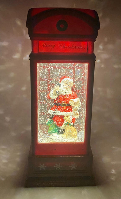 Musical Lighted Santa in a Phone Booth