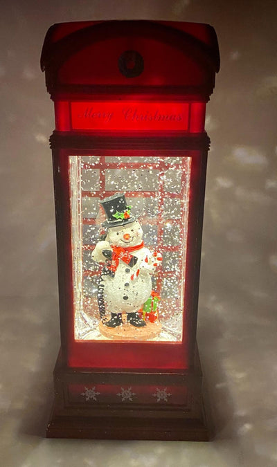 Musical Lighted Snowman in a Phone Booth
