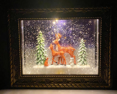 Musical Lighted Reindeer in the Woods Frame