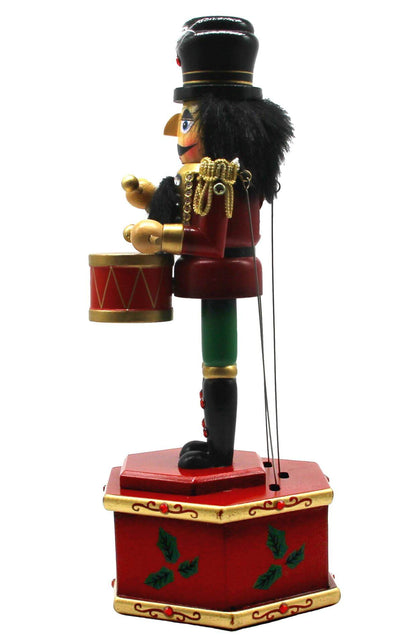 "13"" Musical Nutcracker Wooden Music Box Puppet w/ Drums"