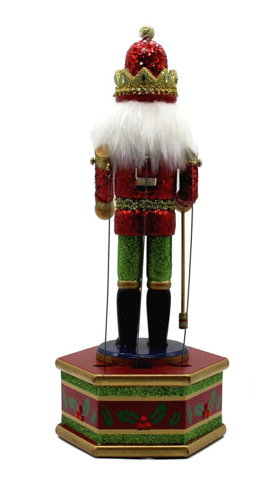 "13"" Musical Nutcracker Wooden Music Box Puppet w/ Staff"