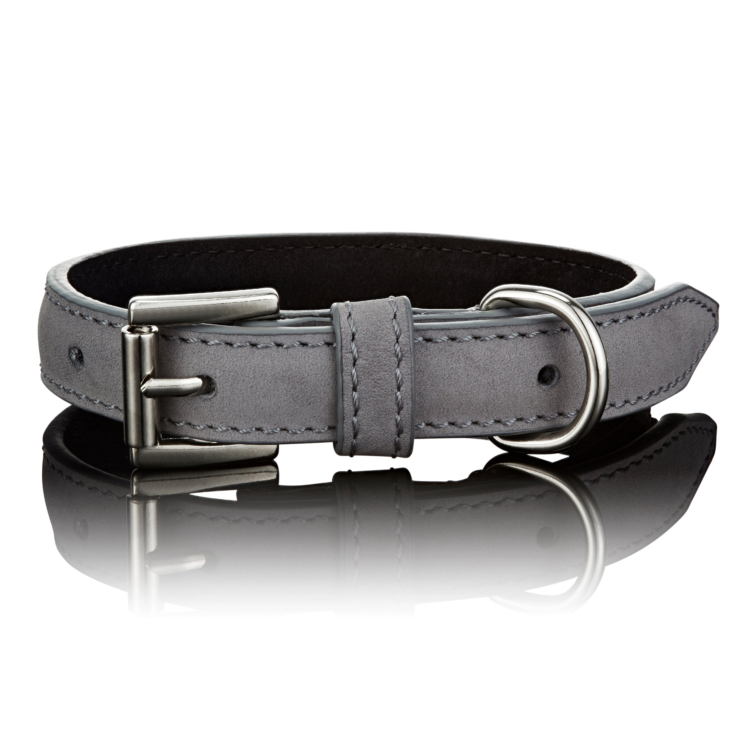 Luxe Leather Collar In Grey