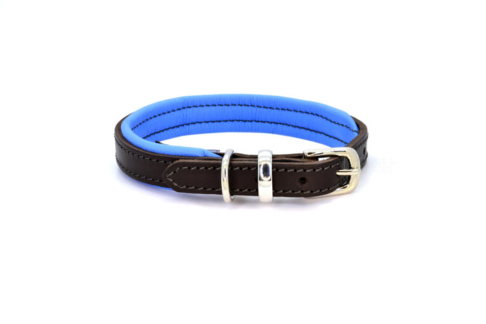 Dogs & Horses luxury leather dog collar, featuring Bridle Tan, Black, Charcoal or dark chocolate brown hide leather strap with padded soft leather lining in classic or contemporary combinations. In Blue with silver from Keeper & Co.