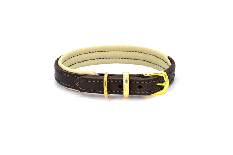 Dogs & Horses luxury leather dog collar, featuring Bridle Tan, Black, Charcoal or dark chocolate brown hide leather strap with padded soft leather lining in classic or contemporary combinations. In Brown with brass from Keeper & Co.