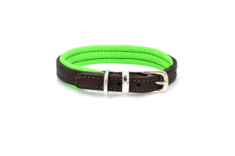Dogs & Horses luxury leather dog collar, featuring Bridle Tan, Black, Charcoal or dark chocolate brown hide leather strap with padded soft leather lining in classic or contemporary combinations. In Green with silver from Keeper & Co.