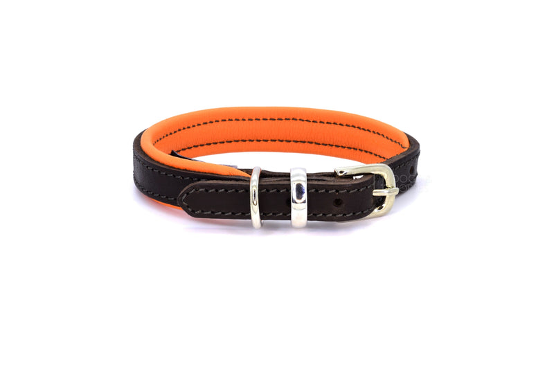 Dogs & Horses luxury leather dog collar, featuring Bridle Tan, Black, Charcoal or dark chocolate brown hide leather strap with padded soft leather lining in classic or contemporary combinations. In Orange with silver from Keeper & Co.