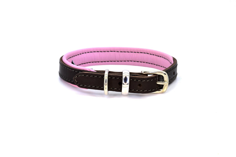 Dogs & Horses luxury leather dog collar, featuring Bridle Tan, Black, Charcoal or dark chocolate brown hide leather strap with padded soft leather lining in classic or contemporary combinations. In Pink with silver from Keeper & Co.