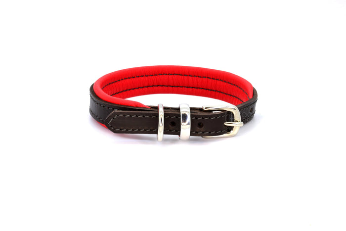 Dogs & Horses luxury leather dog collar, featuring Bridle Tan, Black, Charcoal or dark chocolate brown hide leather strap with padded soft leather lining in classic or contemporary combinations. In Red with silver from Keeper & Co.