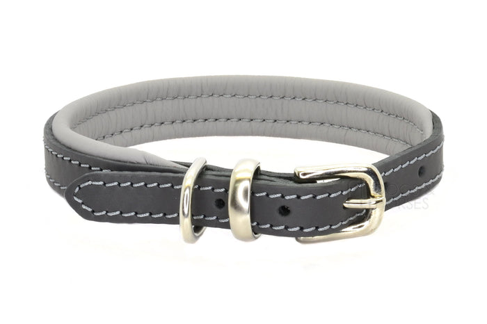 Dogs & Horses luxury leather dog collar, featuring Bridle Tan, Black, Charcoal or dark chocolate brown hide leather strap with padded soft leather lining in classic or contemporary combinations. In Charcoal Grey with silver from Keeper & Co.