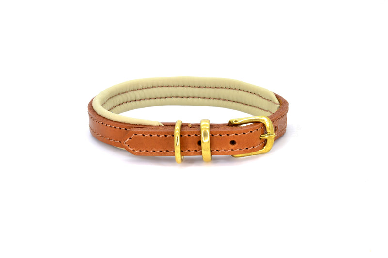 Dogs & Horses luxury leather dog collar, featuring Bridle Tan, Black, Charcoal or dark chocolate brown hide leather strap with padded soft leather lining in classic or contemporary combinations. In Tan with brass from Keeper & Co.
