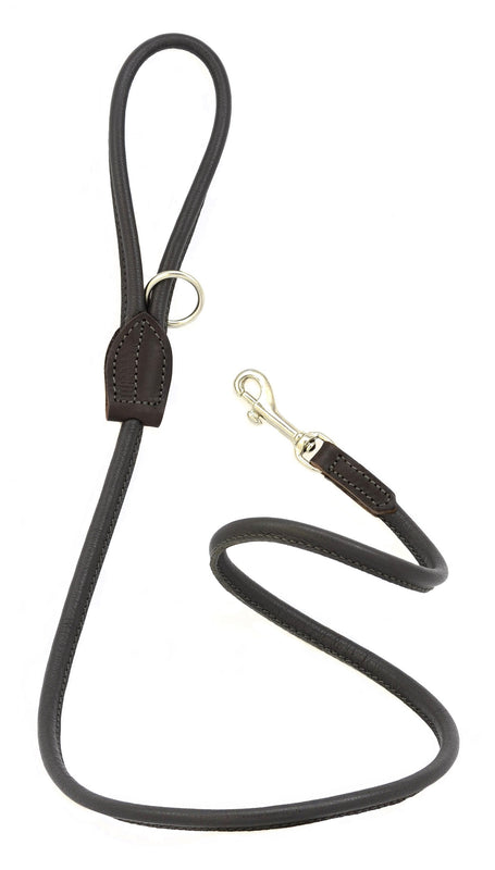 Dogs & Horses dog Lead in soft rolled leather, handmade in England. 130m long by approximately 1cm thick, and finished with a solid brass or silver (nickel-plated brass) trigger hook. In Brown with silver by Keeper & Co.