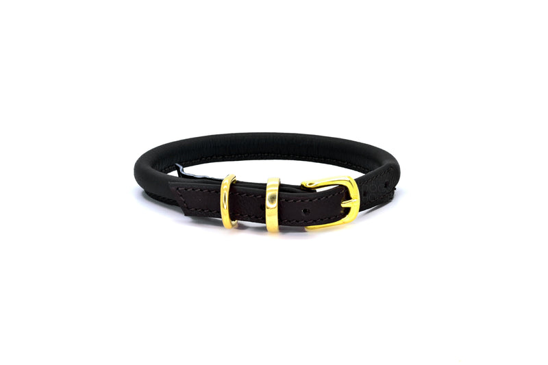 Dogs & Horses handmade in England. D&H Rolled Soft Leather Dog Collar with solid brass or silver (nickel-plated brass) buckle and D-ring. In Black with brass from Keeper & Co.