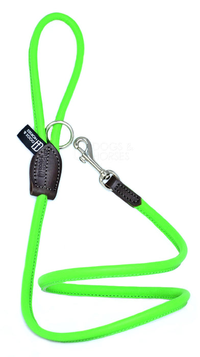 Dogs & Horses dog Lead in soft rolled leather, handmade in England. 130m long by approximately 1cm thick, and finished with a solid brass or silver (nickel-plated brass) trigger hook. In Green with silver by Keeper & Co.