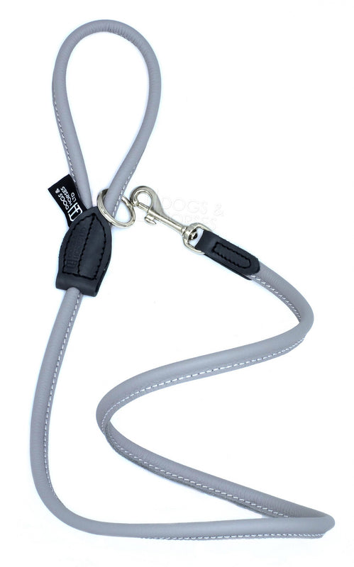 Dogs & Horses dog Lead in soft rolled leather, handmade in England. 130m long by approximately 1cm thick, and finished with a solid brass or silver (nickel-plated brass) trigger hook. In Grey with silver by Keeper & Co.