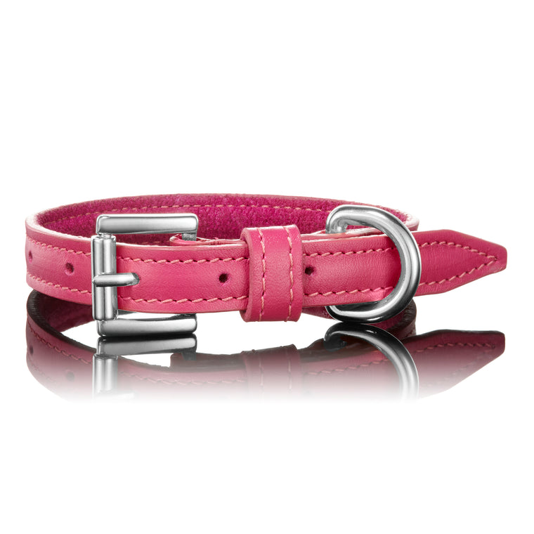 Classic Leather Collar In Pink