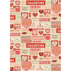Cavallini Flat Wrap - Valentine Greetings