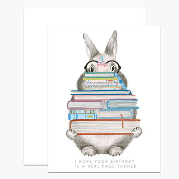 Page Turner Bunny Birthday Card