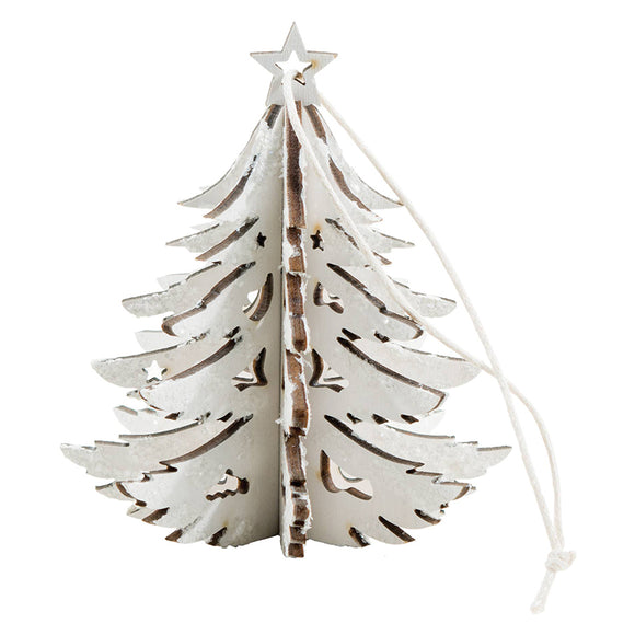 White 3D Wood Tree Ornament