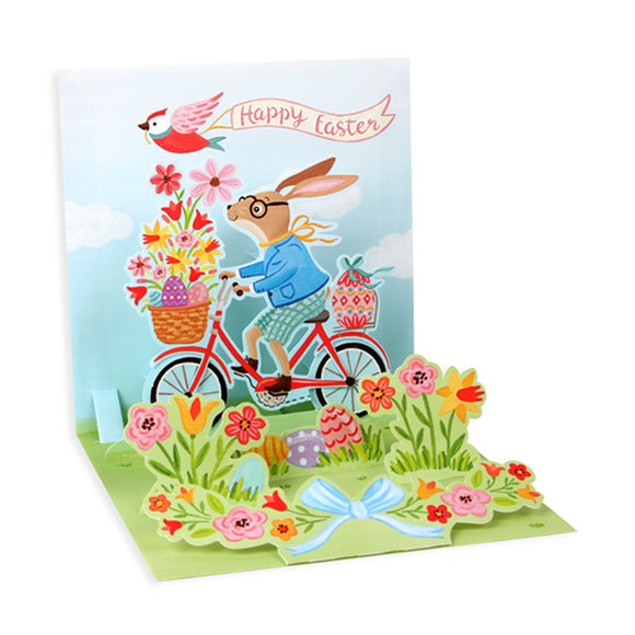 Bunny Bike Ride Treasures Pop-up Card