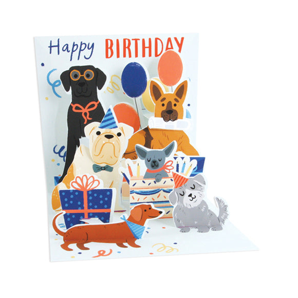 Woof Party Treasures Light-up Pop-up Card