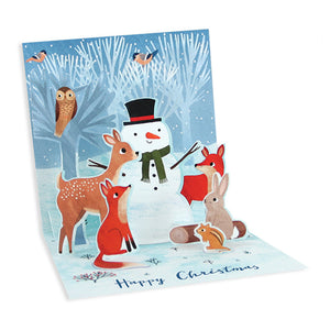 Forest Snowman Treasures Light-up Pop-up Card