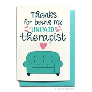 Unpaid Therapist Thank You Card
