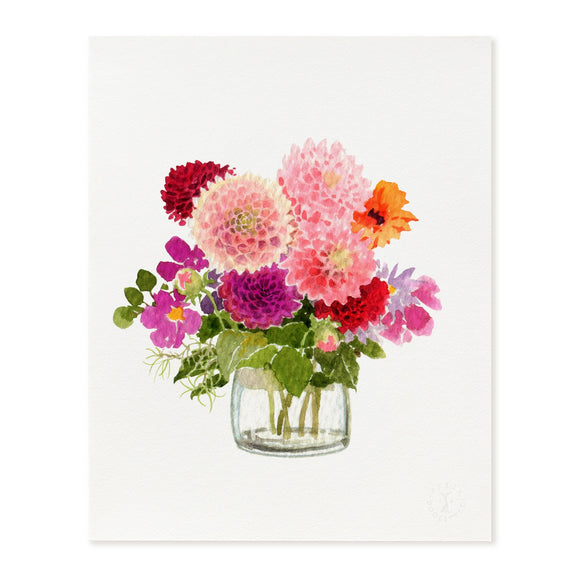 Autumn Dahlias Art Print