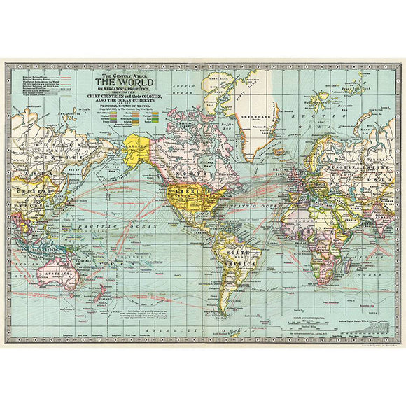 Cavallini Flat Wrap - Century Atlas World Map