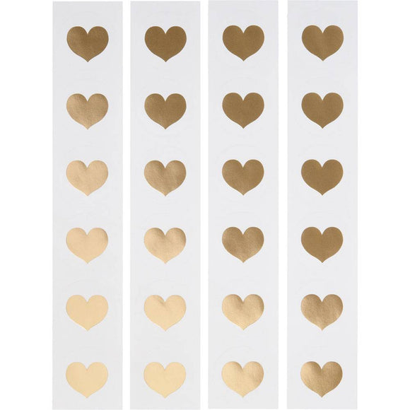 Gold Foil Heart Circle Stickers