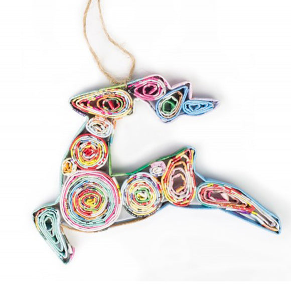 Recycled Paper Reindeer Ornament