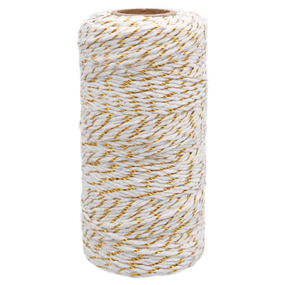 Gold and White Twine (100 Meters)