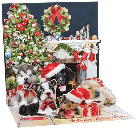 Christmas Puppies Treasures Pop-up Card