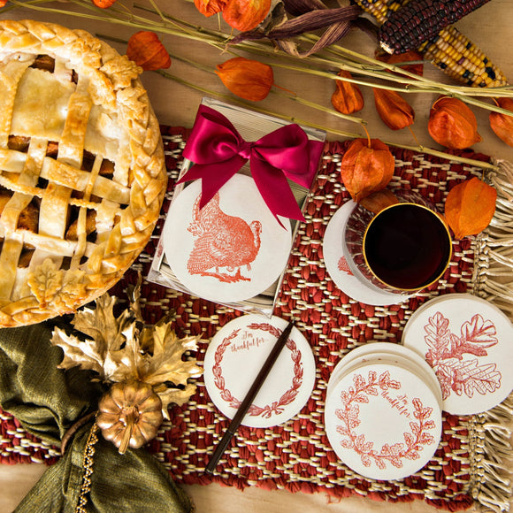 Thanksgiving Letterpressed Coasters